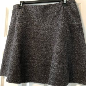 Gray and white blended wool swing style skirt